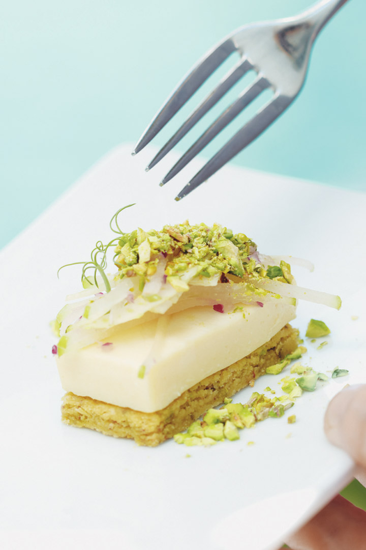 Camembert brûlée on pistachio biscuits with apple salad recipe