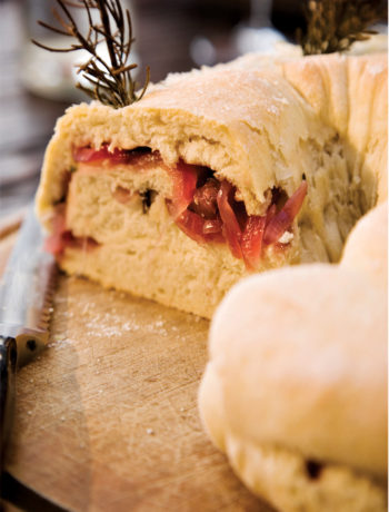 Olive bread with onion jam filling recipe