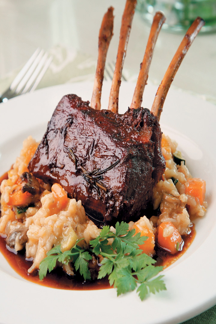 Slow-cooked rack of lamb with garden-vegetable risotto and sherry jus recipe
