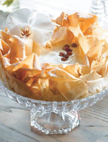 Baklava vanilla cheesecake with honey and nuts