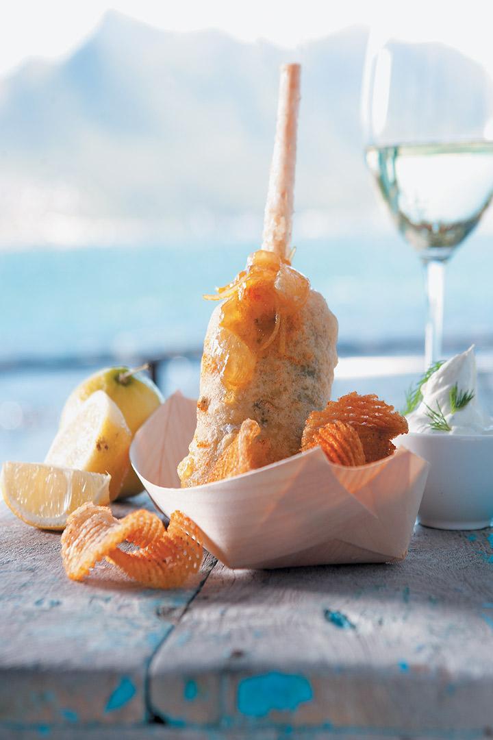 Beer-battered monkfish, cajun crisps, lemon preserve butter and dill sour cream recipe