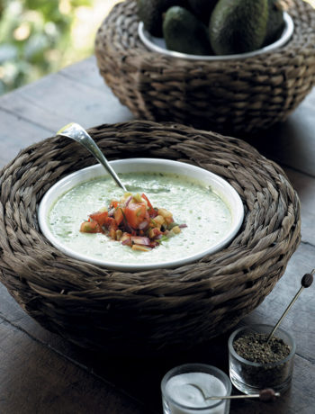 Cucumber and avocado soup with chilli and tomato salsa recipe
