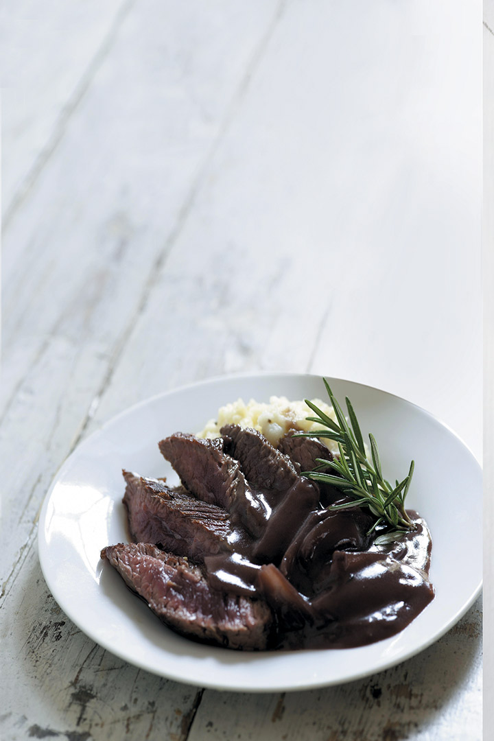 Ostrich steak with celeriac mash and red wine sauce recipe