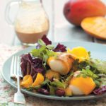 Radicchio salad with mango-wrapped mozzarella and curried coconut dressing