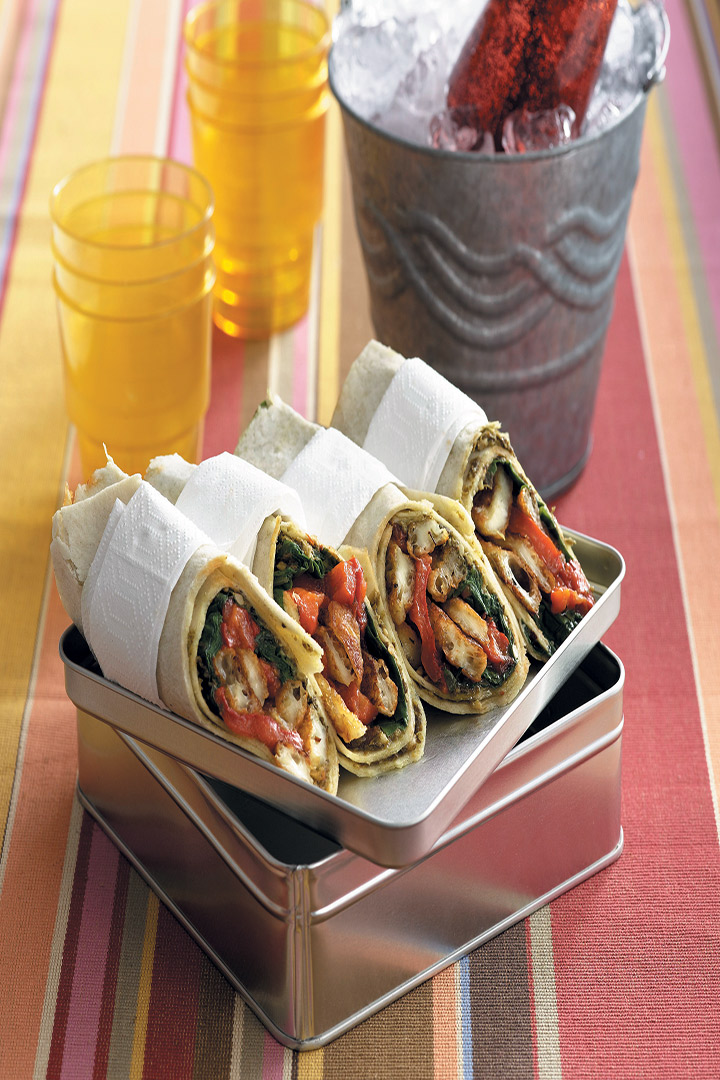Roast pepper and haloumi wraps recipe