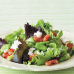 Warm broad bean, pancetta and feta salad with a fresh lemon and herb dressing