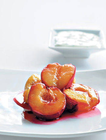Baked fruit with minted yoghurt recipe