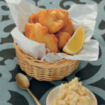 Beer-battered hake with skorthalia (garlic potato dip)