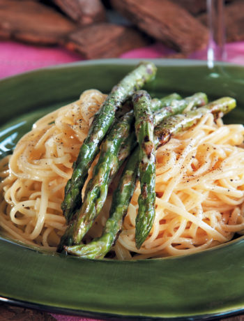 Chargrilled asparagus linguine with a lemon and lime dressing recipe