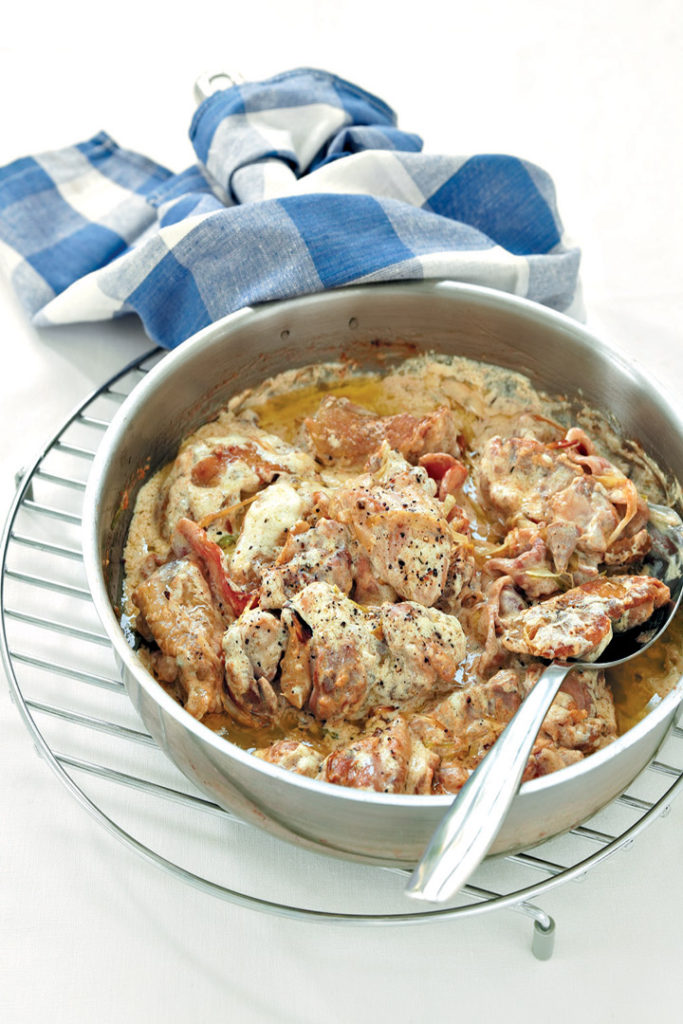 Chicken thighs with creme fraiche and bacon recipe