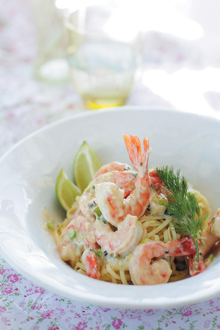 Creamy white wine and lemon prawn linguini recipe
