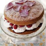 Victoria sponge cake with raspberries and rose water