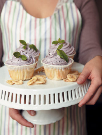 Banana and vanilla cupcakes with blueberry icing recipe