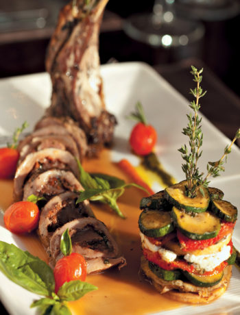 Involtini of lamb with Marsala sauce and Mediterranean vegetable mille feuille recipe