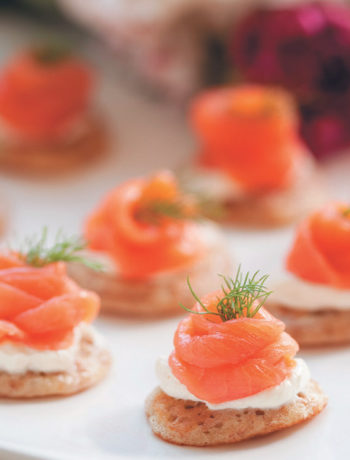 Whole-wheat blinis with smoked salmon and creme fraiche recipe