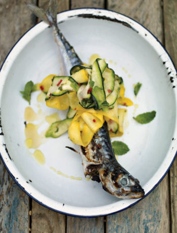 Barbecued mackerel with baby marrow and chilli recipe