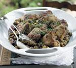 Chicken with green olives, almonds and oregano
