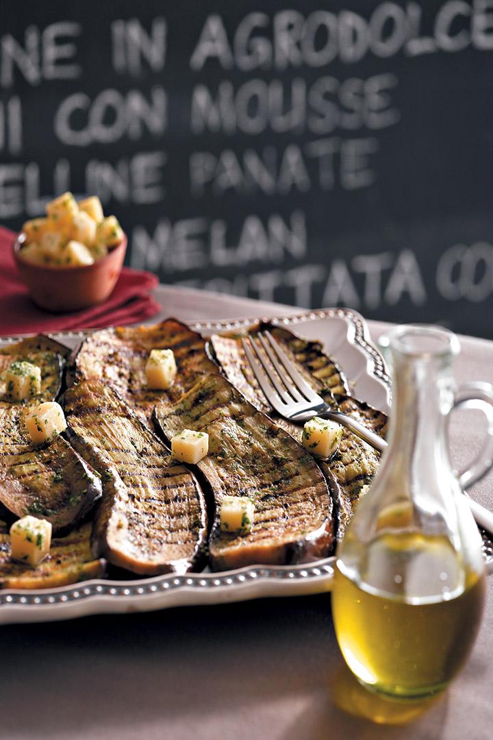 Grilled aubergine carpaccio with parsley pesto and marinated Parmesan recipe