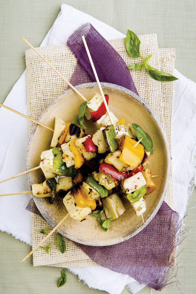 Haloumi and rosemary veggie skewers recipe