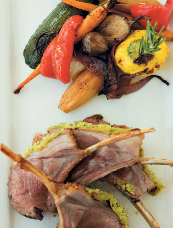 Roast rack of lamb with a rosemary and mustard crust served with slow-roasted farm-style vegetables recipe