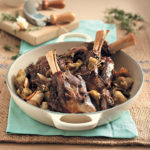 Slow-roasted lamb shanks with artichokes
