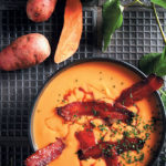 Sweet potato soup with maple and whisky-glazed bacon