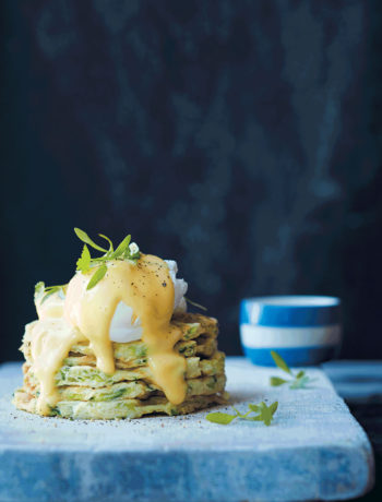 Banting waffle stack with poached egg and hollandaise recipe