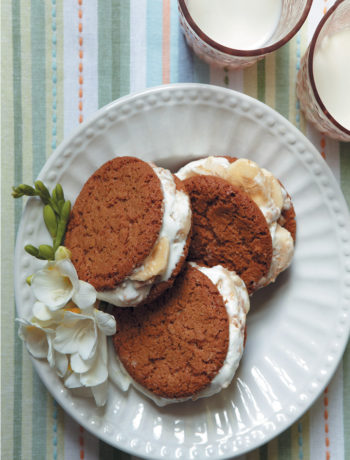Banana and peanut butter ice-cream sandwiches recipe