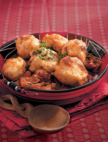 Beer-braised chicken stew with dombolo (dumplings)