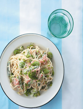 Broad bean, asparagus and smoked salmon pasta recipe