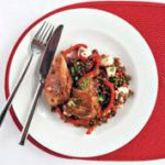 Chicken with lentils and red peppers