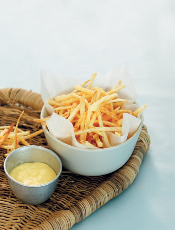 Chips served with chilli aïoli recipe