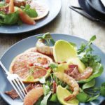 Grapefruit, avocado and prawn salad with a warm bacon and citrus dressing