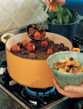 Ostrich potjie with onion and dried fruit pap recipe