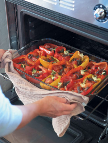 Red peppers stuffed with cherry tomatoes, anchovies and capers recipe