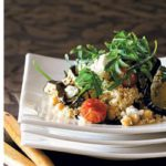 Warm chickpea and bulgur wheat salad with grilled aubergines