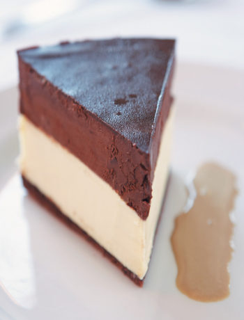 White and dark chocolate truffle cake served with mocha anglaise recipe