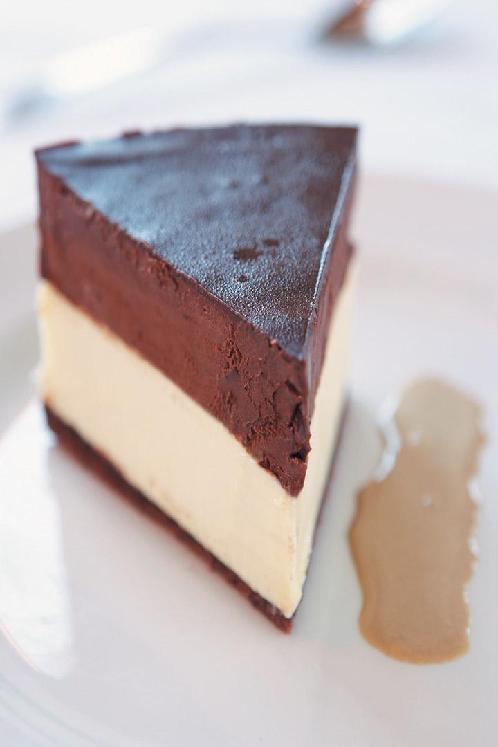 White and dark chocolate truffle cake served with mocha anglaise recipe