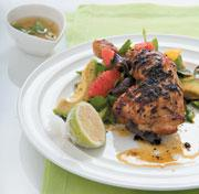 Margarita chicken with grapefruit and avocado salad and tequila dressing