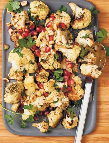 Spiced, roasted cauliflower with hazelnuts and pomegranate rubies