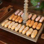 Almond éclairs and salted caramel éclairs