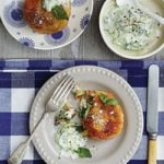 Broccoli, potato and feta cakes with tzatziki