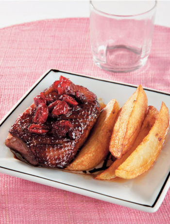 Duck breast with pomegranate and cranberry sauce recipe