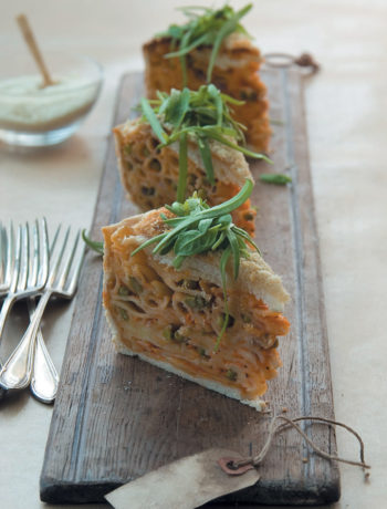 Italian pasta bake with asparagus, peas and mozzarella recipe