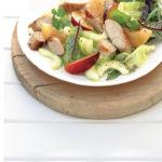Plum and pork sausage salad