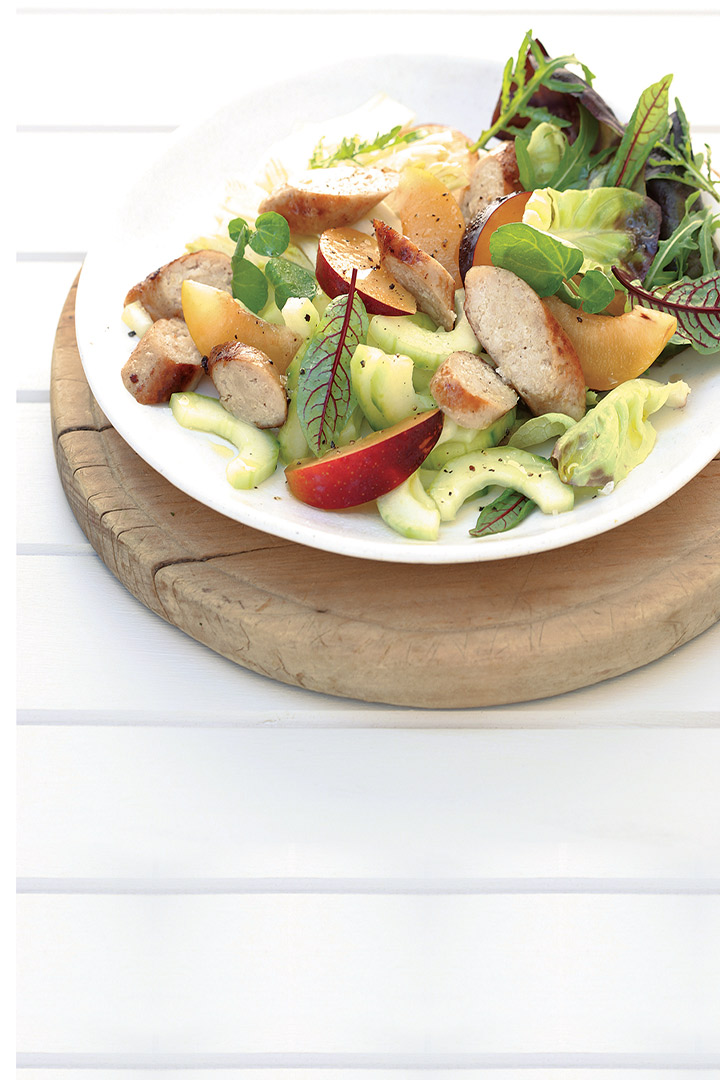 Plum and pork sausage salad recipe