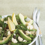 Quinoa and steamed broccoli salad with avocado, watercress and toasted pumpkin seeds