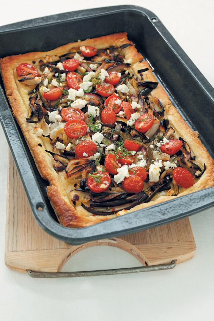 Roast vegetable, feta and dill tart recipe