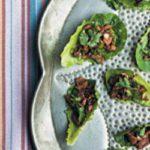 Schezuan pork in gem lettuce cups