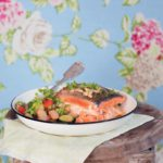 Stuffed trout with baby marrow and butter bean salad